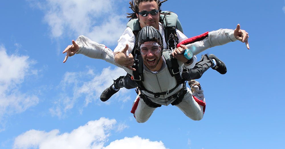 Having a great time on a tandem skydive