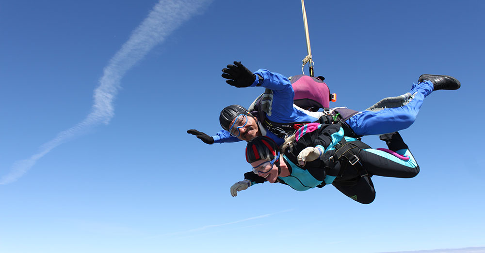 Woman doing a tandem skydive